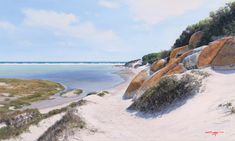 A Stroll Down to the Beach, Noordhoek - painting by Andrew Cooper Andrew Cooper, South African Artists, Seascape Paintings, Paintings For Sale, Beaches, Fine Art, Water, Outdoor, Gripe Water