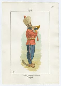 British; Bombay Sappers & Miners Bugler 1903 by Charles James Lyall