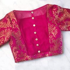 50 Latest Silk Saree Blouse Designs Catalogue 2019 - - If you are looking for new & latest saree blouse design ideas for your party, fancy, silk or any other sarees, you've come to the right place. The Catalogue is here. Blouse Back Neck Designs, Simple Blouse Designs, Stylish Blouse Design, Traditional Blouse Designs, Pink Blouse Design, Latest Blouse Designs, Pattu Saree Blouse Designs, Designer Blouse Patterns, Saree Blouse Neck Designs