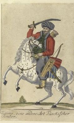 Zaim, a Sipahi with a large fief. Vorstellung der vorzuglichsten Gattungen des Türckischen Militairs und ihrer Officiere (Presentation of the genres of Turkish military men and their officers). Dated 1805