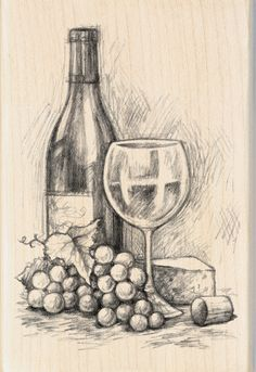 "Inkadinkado Mounted Rubber Stamp 4""X2.75""-Wine&CheeseInkadinkado Mounted Rubber Stamp 4""X2.75""-Wine&Cheese,"