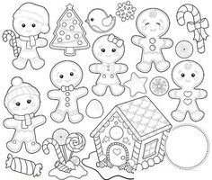 Santa and Friends - Digital stamps set - Christmas clipart Colouring Pages, Adult Coloring Pages, Coloring Books, Christmas Clipart, Christmas Crafts, Digital Stamps Christmas, Christmas Baubles, Clipart Noel, Pretty Mermaids