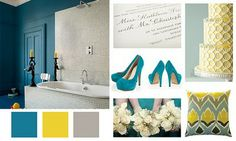 Grey and yellow, possible accent colours to tie in the other rooms with the surf blue.