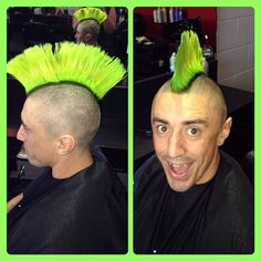 Samantha's Hair Design from Australia posted this great pic of a magical mohawk in neon green. Of course, they used Manic Panic's semi-permanent Vegan hair color, and this color, Electric Lizard, even glows under black light!