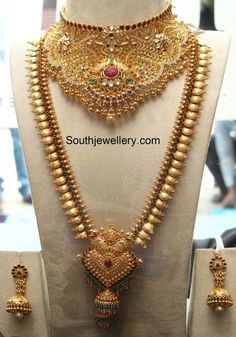 Bridal Gold Choker and Lakshmi Long Chain