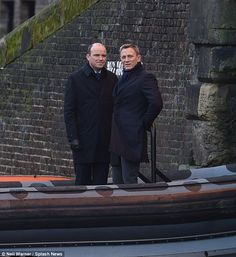Dapper dudes: The actor was seen filming alongside Rory Kinnear – who plays MI6's Bill Tan... #jamesbond #spectre #007