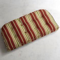Large Contour Settee Cushion In Sullivan Stripe Red