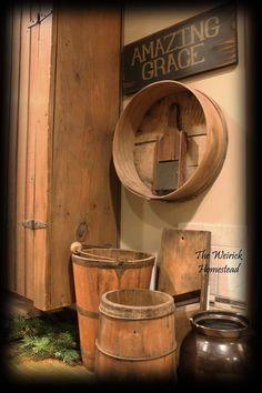 Primitive Signs, Primitive Kitchen, Primitive Antiques, Primitive Decor, Amazing Grace, Buckets, Primitives, Country Decor, Dining Rooms