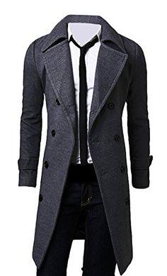 Brinny Homme Elegant Mince Double Boutonnage Pardessus Trench-Coat Hiver  Chaud Veste Longue 3 Couleur  Kaki Noir Gris  Amazon.fr  Vêtements et  accessoires 4bf0edb36a5