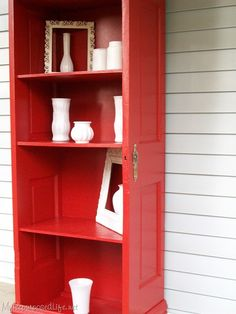 book shelf from old door-- Hello!!! this is amazing! I might have changed my mind from what I'm doing with that old door : )