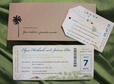 Royal Blue, Sage Green & Tan Island Sunset & Hawaiian Map Antique Airline Ticket Wedding Invitations