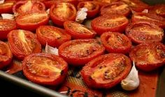 Tomatoes  Roast roma tomatoes in the oven at a low temperature (225 degrees) with garlic, fresh herbs, and a drizzle of olive oil for 4 to 5 hours. When cooled, transfer to freezer bags. Use them in chili or in your own tomato-based sauces.