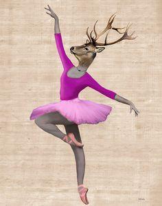 Ballet Deer Pink 14x11 Digital Art Illustration di LoopyLolly, $36.00