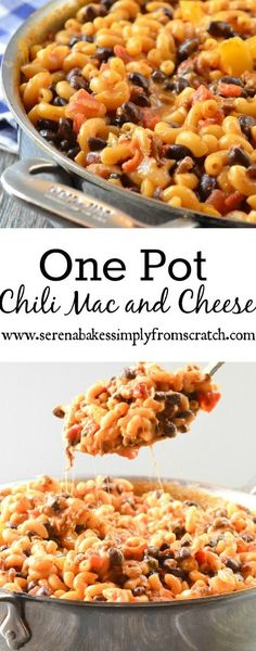 One Pot Chili Mac and Cheese is an easy to make dinner with minimal clean up. Slow Cooker Recipes, Crockpot Recipes, Cooking Recipes, Easy To Make Dinners, Easy Meals, Great Recipes, Favorite Recipes, Amazing Recipes, Chili Mac And Cheese