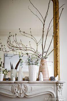 bonnesoeurs decoration nature chic 06 salon vases cheminee marbre miroir