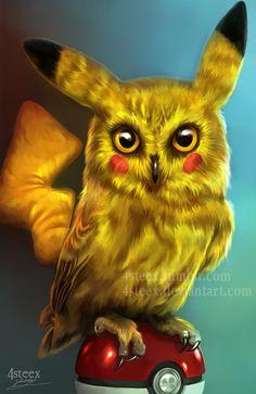 Pokemon - Pikachowl by 4steex.deviantart.com on @DeviantArt