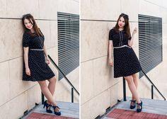 F&F retro pin-up black dress. Curvy blogger