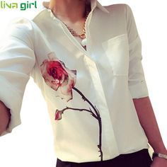 Newly Autumn Women Fashion White Long Sleeve Rose Flower Printed Shirt Casual Lady Turn Down Collar Chiffon Shirts Blouse Oct1