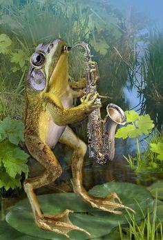 Humorous Frog Plying Saxophone Painting Gina Femrite