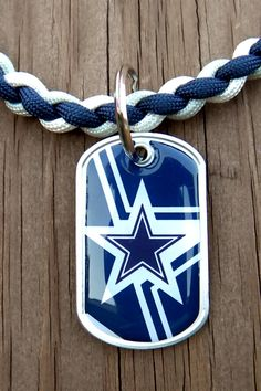 Dallas Cowboys Team Paracord Necklace with a NFL Officially Licensed Dog Tag Pendant. $16.00, via Etsy.