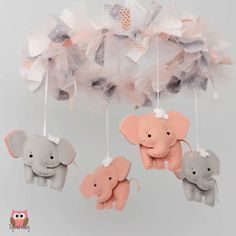 Elephant Mobile Baby Mobile Custom Mobile not by TayloredWhimsy, $95.00