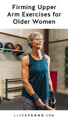 Firming Upper Arm Exercises for a 60 Year Old Woman Skin losing elasticity in your upper arms is an indicator that time is passing. Fight back by building your arm muscles so that your skin fills out somewhat. Fitness Logo, Fitness Tips, Health Fitness, Fitness Exercises, Fitness Men, Training Exercises, Fitness Design, Squats Fitness, Fitness Couples