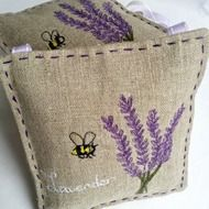 Machine Embroidered lavender bag