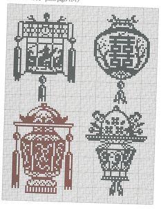 lanternes * point de croix * cross stitch lanterns