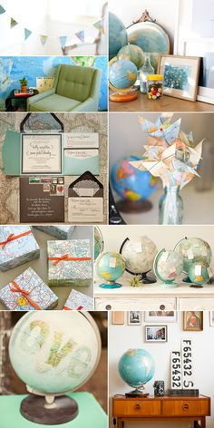 I love globes and maps!!! Also, look at the doily-lined envelope! LOVE! Cheap alternative to pricey envelope liners!