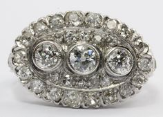 Antique Art Deco 14k White Gold 2 CTW Old European Cut Diamond Engagement Ring