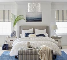 Shop Pottery Barn for expertly crafted apartment bedroom furniture. Browse our selection of apartment furniture and find beds, nightstands and more. Home Bedroom, Bedroom Decor, Bedroom Ideas, Coastal Master Bedroom, Large Bedroom, Coastal Bedrooms, Beach House Decor, Home Decor, Beach Houses