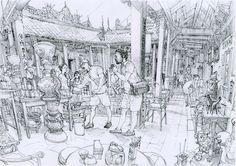 Kim Jung Gi Sketch Collection, News, and More! Junggi Kim, Comic Manga, Anime Comics, Perspective Art, Kim Jung, Line Illustration, Amazing Drawings, Black And White Illustration, Line Drawing
