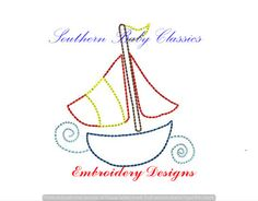 Boat Sailboat Vintage Quick Stitch Bean Nautical Boy Design File for Embroidery Machine Instant Download by SouthernBabyClassics on Etsy