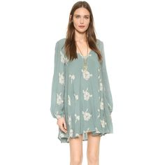Free People Emma Embroidered Dress ($150) ❤ liked on Polyvore featuring dresses, misty green combo, long sleeve short dress, cut out dress, ruched dress, deep v neck dress and short dresses
