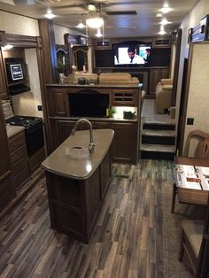 Beautiful Keystone Avalanche 5th Wheel from the Toronto RV Show. Love the entertaining area up front. #rvcamping5thwheels