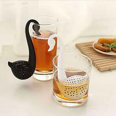 kuğu şeklinde çay kaşığı çay yaprağı süzgeci (rastgele renk) - USD $ 0.99