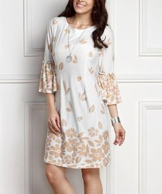 Look what I found on #zulily! White Floral Bell-Sleeve Shift Dress - Plus #zulilyfinds
