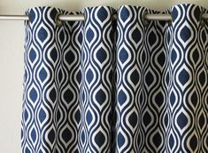 Pair wide Premier Print Nicole navy blue and white ROD curtains panels drapes curtains can add grommets/lining Blue Pattern Curtains, Curtain Patterns, Curtain Rings With Clips, Curtain Clips, Cafe Curtains, Lined Curtains, Bedroom Curtains, Blue And White Curtains, Custom Made Curtains