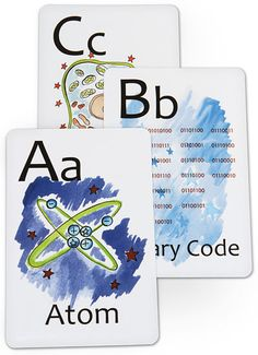 ThinkGeek :: Nerdy ABC Flashcards. I  want to make the coolest bunting ever out of these for the girls' room!!