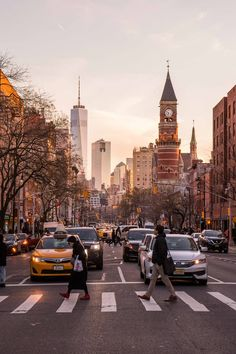 New York Street Scene in Chelsea  One World Trade From 6th   Etsy