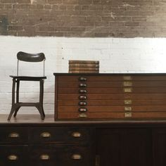 1920s Architects Oak Plan Chest - 7 drawers. Perfect Vintage Industrial Coffee Table