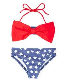 9b4fadda920dc Bathing suits · Red & Blue Star Bow Bikini - Toddler & Girls Bow Bandeau, Girls  Bows,