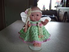 "Berenguer 5"" Baby Dolls - Fairy dress #41  More can be seen on Pinterest under Jana Langley Berenguer 5"" Dolls with crocheted outfits"