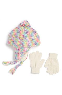 fc96c91eda9 Capelli of New York  Nubby  Space Dye Knit Hat  amp  Gloves (Little