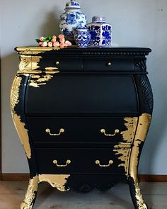A Stunning Bombe Chest With Drop Down Desk that has been updated with Black and . Lupita Marquez Proyectos A Stunning Bombe Chest With Drop Down Desk that has been updated with Black and Gold Leaf. Transforming furniture into a statem Gold Leaf Furniture, Hand Painted Furniture, Funky Furniture, Refurbished Furniture, Paint Furniture, Repurposed Furniture, Furniture Projects, Furniture Makeover, Furniture Outlet