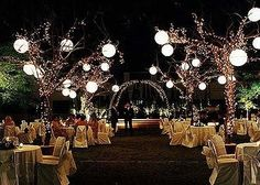 In Chicago or NY - with paper lanterns in the trees & tasteful lights
