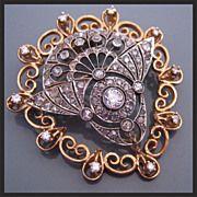 Antique Edwardian Diamond Platinum 14K Gold Art Deco Pendant