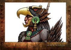 Eagle Warrior in color. Colouring description process. Concept character development. Coloreado del guerrero águila azteca. Desarrollo del personaje para el comic Tenochtitlan.