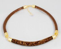 Bead filled Mesh Necklace with leather cord