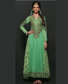 Green anarkali suit with embroidered neckline   1. Green net georgette anarkali suit2. Thread embroidered floral pattern necklien and sleeves3. Comes with matching bottom and dupatta4. Can be stitched upto size 42 inches